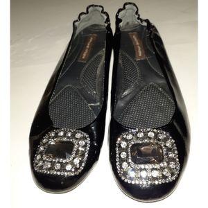 Adrienne Vittadini Stone Leather Ballerina Flats